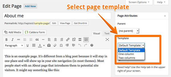 WordPress的自定义页面模板