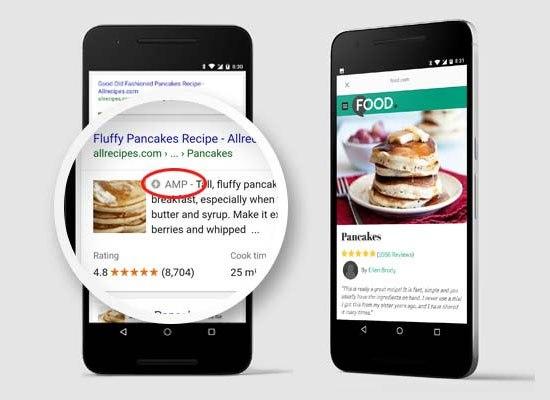AMP页面出现在Google搜索结果中