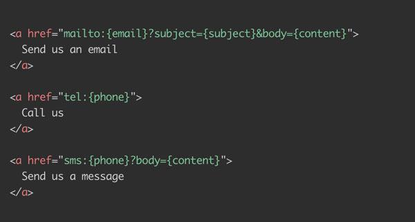 网页中邮件,电话,短信超链接怎样写?